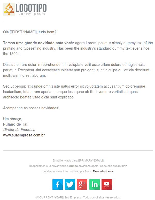Modelo de e-mail para comunicados simples
