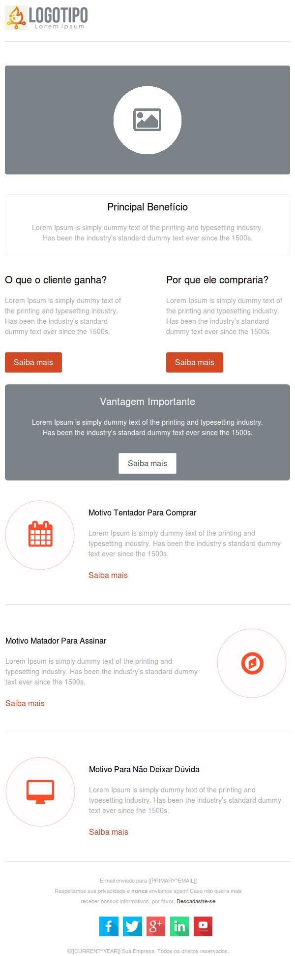 Modelo de e-mail para divulgação de produtos e serviços