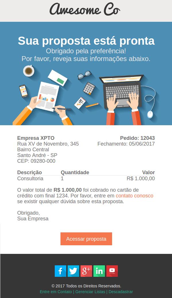 Modelo de e-mail para proposta comercial